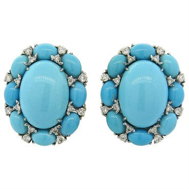 image of Large Turquoise Diamond 18k Gold Earrings