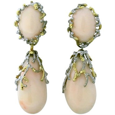 image of 1970s Gold Angel Skin Coral Teardrop Earrings