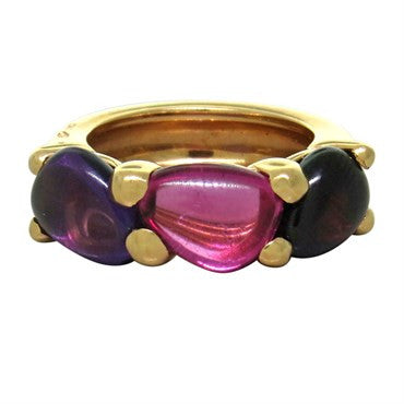 image of New Pomellato Sassi 18k Gold Amethyst Pink Tourmaline Garnet Ring
