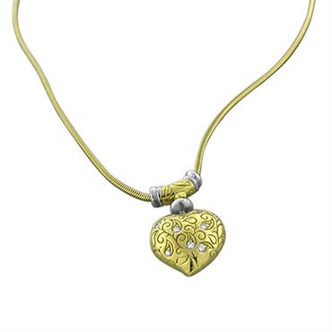 image of Estate Seidengang 18K Gold Diamond Heart Pendant Necklace