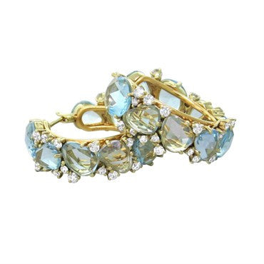thumbnail image of New Pomellato Lulu 18k Gold Diamond Blue Topaz Hoop Earrings