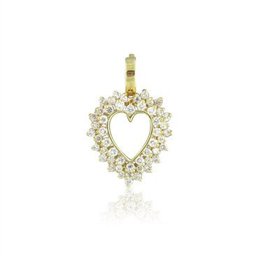 image of Estate 14K Yellow Gold 2.00ctw Diamond Heart Charm Pendant