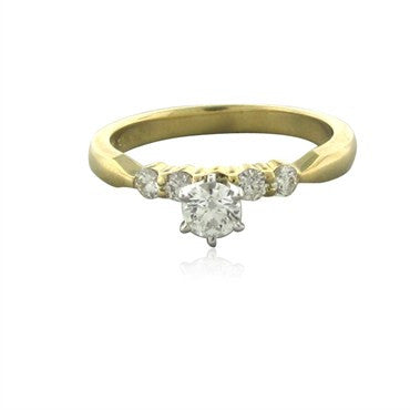 image of New Hearts On Fire Four Stone Solitaire Diamond Engagement Ring