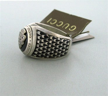 image of New Gucci Sterling Black Enamel Fashion Shield Ring With Tags 23
