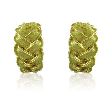 thumbnail image of Vintage Tiffany & Co France Weave Pattern 18K Gold Earrings