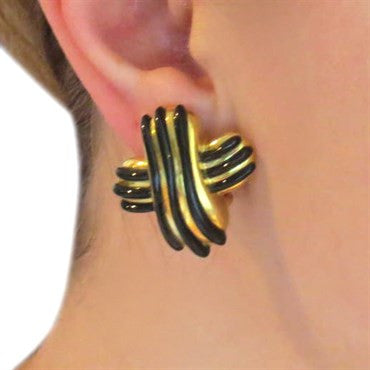 thumbnail image of 1980s Angela Cummings Gold Black Jade Earrings