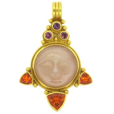 thumbnail image of Gloria Natale Multi Gemstone 22k Gold Moon Face Pendant