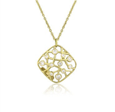 image of New Hearts On Fire Brocade 18K Yellow Gold Diamond Pendant Necklace