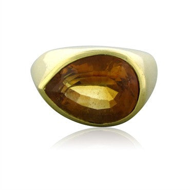 image of Tiffany & Co Paloma Picasso 18K Yellow Gold Pear Shaped Citrine Ring