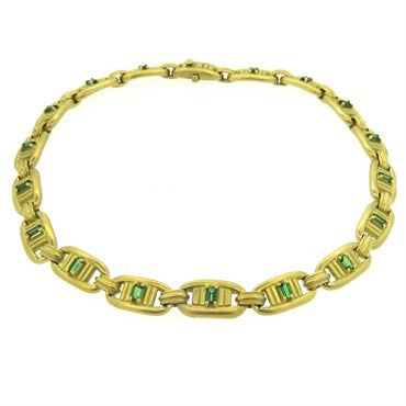 image of 1980s Barry Kieselstein Cord 18k Gold Green Tourmaline Necklace
