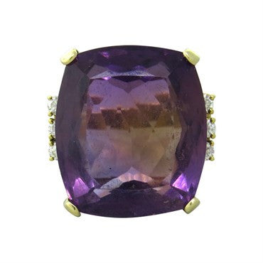 image of Classic Amethyst Diamond 14K Gold Ring