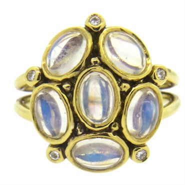 image of Temple St. Clair Gold Moonstone Diamond Ring