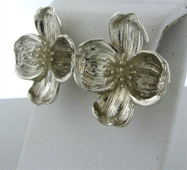 thumbnail image of Estate Tiffany & Co Sterling Silver Dogwood Flower Earrings