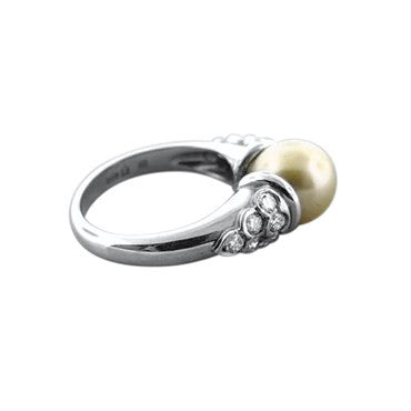 image of New Gumuchian Platinum Diamond And Golden Pearl Ring
