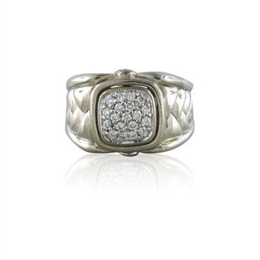 image of Estate Scott Kay Sterling Silver Diamond Ring
