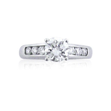 image of EGL Cert Ritani 1.00ct Diamond Platinum Engagement Ring