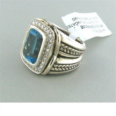 thumbnail image of Scott Kay Sterling Blue Topaz Diamond Ring