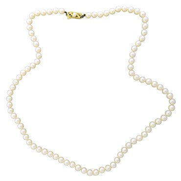 thumbnail image of Vintage Mikimoto 14k Gold 6mm to 6.5mm Pearl Necklace