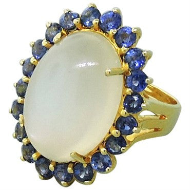thumbnail image of Moonstone Sapphire 18K Gold Cocktail Ring