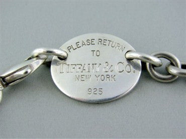 thumbnail image of Tiffany & Co. Sterling Silver Return To Tiffany Oval Tag Link Necklace