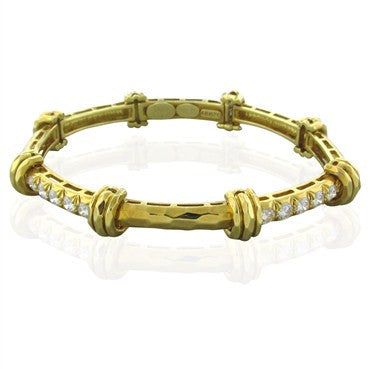 image of Henry Dunay 18K Yellow Gold Hammered Fifish 1.50ctw Diamond Bracelet