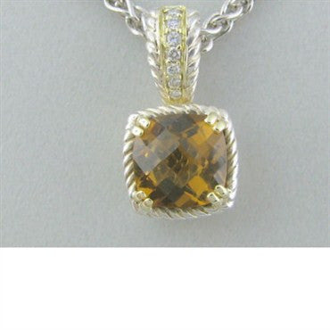 thumbnail image of Krypell Sterling 14k Gold Citrine Diamond Necklace