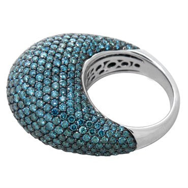 thumbnail image of Teal Blue Green Diamond Gold Dome Ring