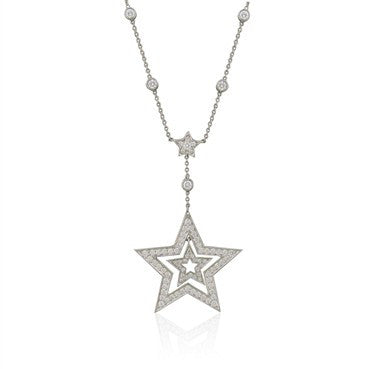 image of Tiffany & Co Stars Collection Platinum Diamond Pendant Necklace