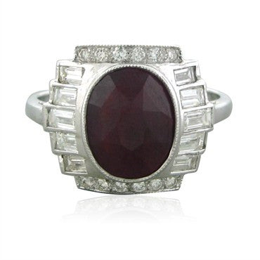 image of Estate Art Deco Style 18K White Gold 2.00ct Ruby Diamond Ring