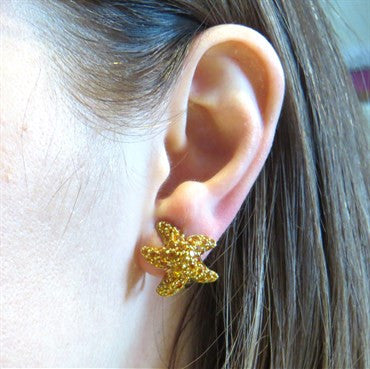 thumbnail image of Chantecler Yellow Sapphire Gold Starfish Earrings