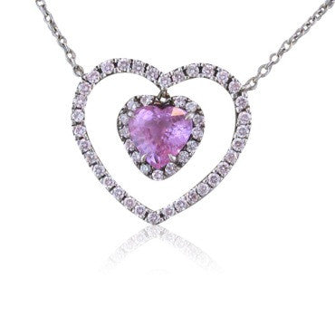 image of Fred Leighton Sapphire Diamond Platinum Heart Necklace