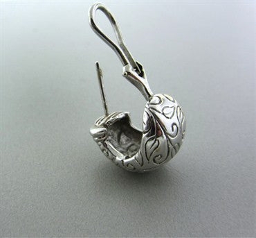 image of Estate Seidengang 18K White Gold Carved Leaves Earrings