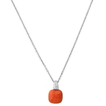 image of New Pomellato Capri 18k Gold Diamond Coral Pendant Necklace