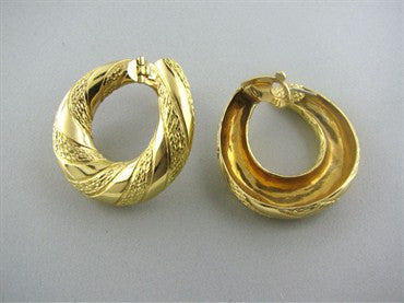 thumbnail image of Large Estate Vintage Fred Paris France 18K Gold Earrings