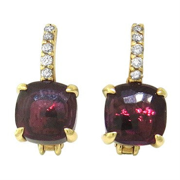 image of New Pomellato Nudo 18k Gold Diamond Rhodolite Garnet Earrings