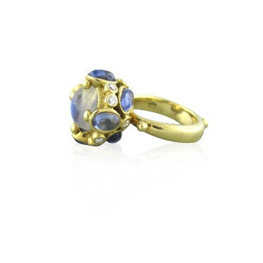 image of Temple St. Clair 18k Gold Moonstone Diamond Ring