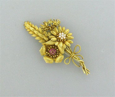 thumbnail image of 1970s Tiffany & Co 18k Gold Ruby Sapphire Pearl Diamond Brooch Pin