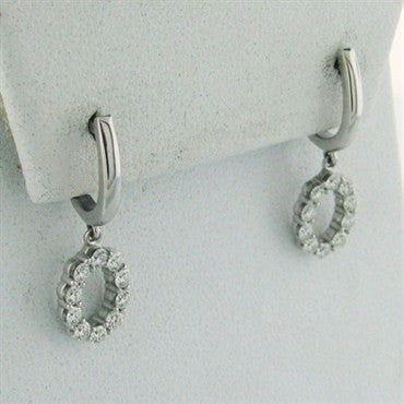 thumbnail image of Whimsical Drop Hearts On Fire 18k Gold Diamond Earrings