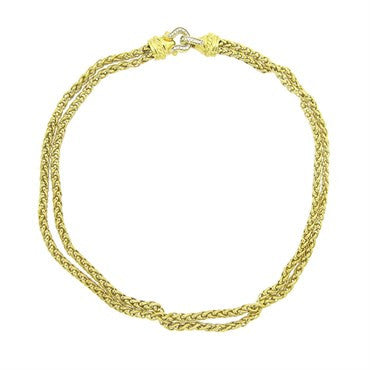 thumbnail image of David Yurman 18k Gold Diamond Double Chain Buckle Necklace
