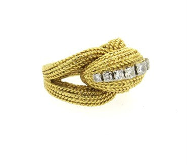 thumbnail image of 1970s Diamond 18k Gold Woven Pattern Dome Ring