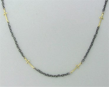 thumbnail image of Emily Armenta 18k Gold Oxidized Silver Sword Motif Necklace