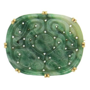 image of Antique Carved Jade 14k Gold Brooch Pin