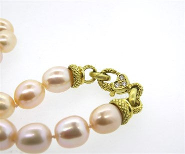 image of Judith Ripka 18k Gold Diamond Pearl Necklace