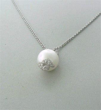 thumbnail image of Estate Henry Dunay Platinum Diamond 14.6mm Pearl Pendant Necklace