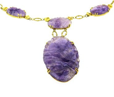 image of Art Nouveau Carved Amethyst Gold Necklace