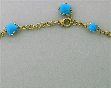 image of New Pomellato Capri 18k Gold Turquoise Quartz Long Necklace 24