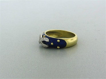 image of Hidalgo 18K Yellow Gold Blue Enamel Diamond Ring