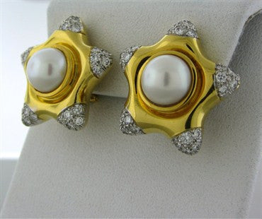 thumbnail image of Vintage Tiffany & Co 18K Gold Platinum Pearl Diamond Star Earrings