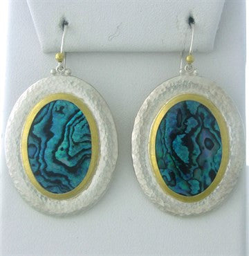 thumbnail image of New Gurhan 24K Gold Sterling Silver Paua Shell Large Drop Earrings