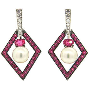image of John Hardy Cinta Pearl Pink Spinel Diamond 18k Gold Drop Earrings